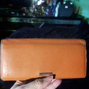 Vintage Women's Burberry Orange Leather Wallet